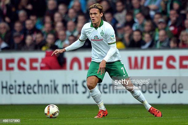 Jannik Verstergaard of Bremen controls the ball during the Bundesliga match between Werder Bremen and Borussia Dortmund at Weserstadion on October 31...