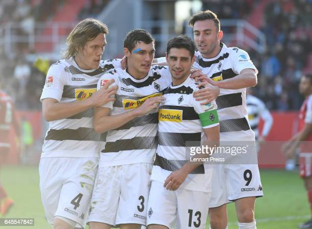 Jannik Vestergaard Andreas Christensen Lars Stindl and Josip Drmic of Borussia Moenchengladbach celebrate the opening goal during the Bundesliga...