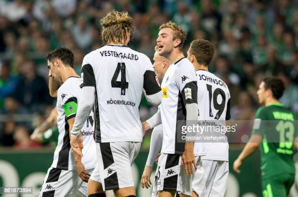 Jannik Vestergaard of Borussia Moenchengladbach celebrate with his team mate Christoph Kramer after he scores his teams first goal during the...