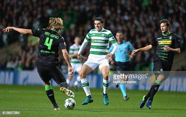 Jannik Vestergaard of Borussia Moenchengladbach clears under pressure from Tomas Rogic of Celtic during the UEFA Champions League group C match...