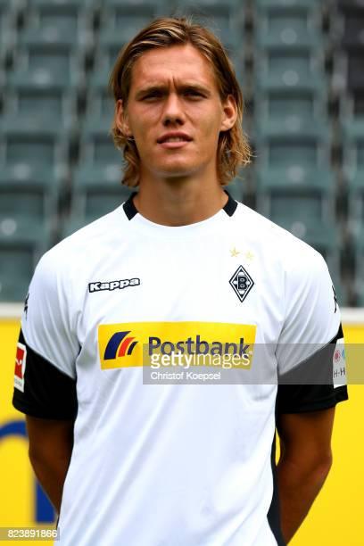Jannik Vestergaard of Borussia Moenchengladbach poses during the team presentation at Borussia Park on July 28 2017 in Moenchengladbach Germany