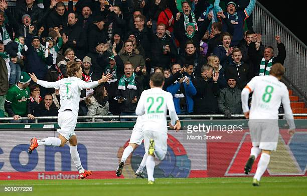 Jannik Vestergaard of Bremen celebrates his goal during the Bundesliga match between Werder Bremen and 1 FC Koeln at Weserstadion on December 12 2015...