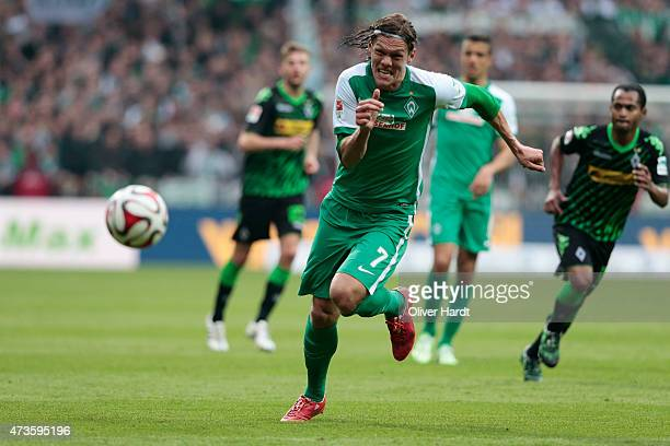 Jannik Vestergaard of Bremen in action during the First Bundesliga match between SV Werder Bremen and Borussia Moenchengladbach at Weserstadion on...