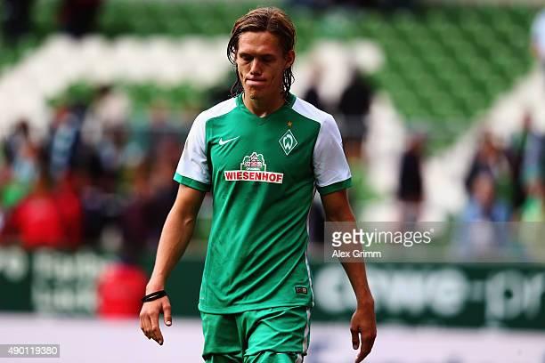 Jannik Vestergaard of Bremen reacts after the Bundesliga match between Werder Bremen and Bayer Leverkusen at Weserstadion on September 26 2015 in...