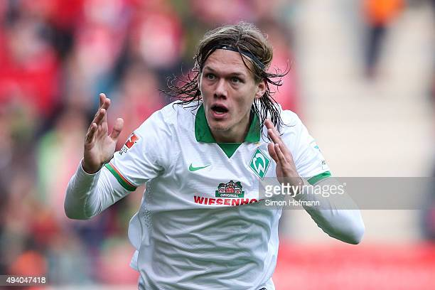Jannik Vestergaard of Bremen reacts during the Bundesliga match between 1 FSV Mainz 05 and Werder Bremen at Coface Arena on October 24 2015 in Mainz...