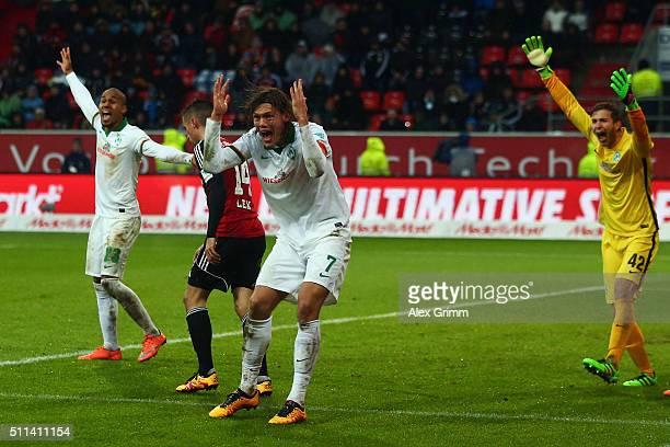 Jannik Vestergaard of Bremen reacts during the Bundesliga match between FC Ingolstadt and Werder Bremen at Audi Sportpark on February 20 2016 in...