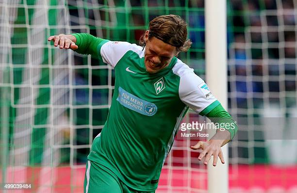Jannik Vestergaard of Bremen reacts during the Bundesliga match between SV Werder Bremen and Hamburger SV at Weserstadion on November 28 2015 in...