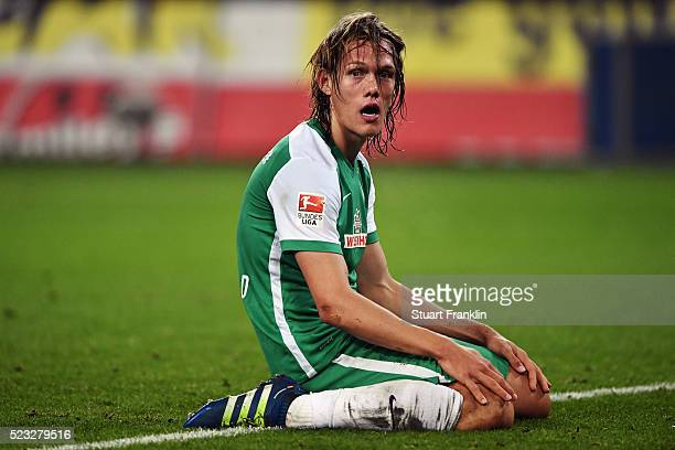 Jannik Vestergaard of Bremen reacts during the Bundesliga match between Hamburger SV and Werder Bremen at Volksparkstadion on April 22 2016 in...