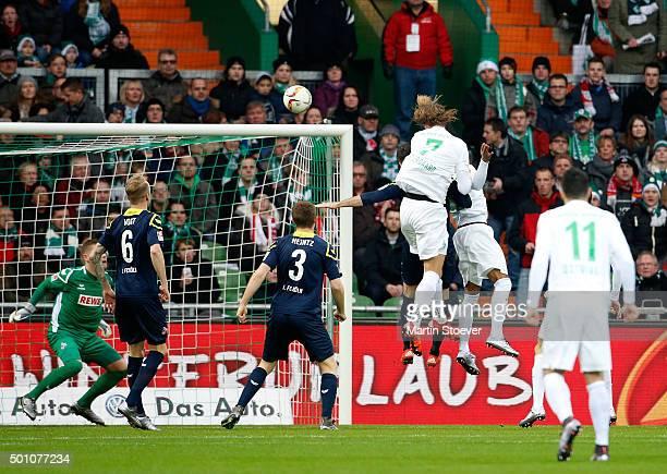 Jannik Vestergaard of Bremen scores his goal during the Bundesliga match between Werder Bremen and 1 FC Koeln at Weserstadion on December 12 2015 in...