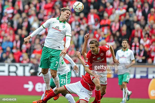 Jannik Vestergaard of Bremen tries to score during the Bundesliga match between 1 FSV Mainz 05 and Werder Bremen at Coface Arena on October 24 2015...