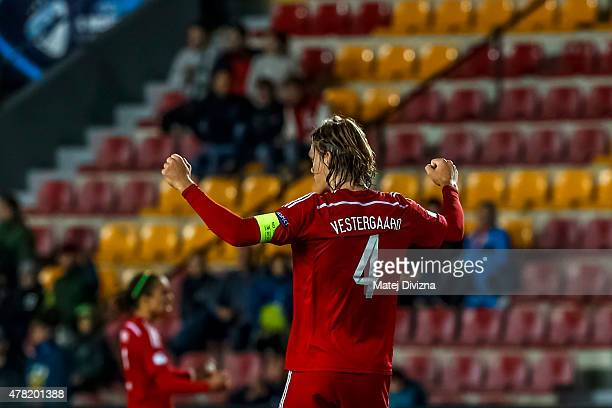 Jannik Vestergaard of Denmark celebrates with his teammates after UEFA U21 European Championship Group A match between Denmark and Serbia at Letna...