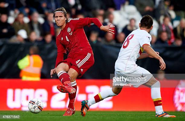 Jannik Vestergaard of Denmark controls the ball during the International Friendly match between Denmark and Montenegro at Viborg Stadion on June 8...