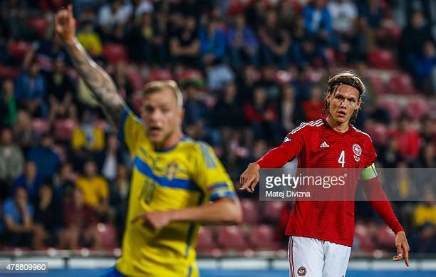 Jannik Vestergaard of Denmark in action during UEFA U21 European Championship semi final match between Denmark and Sweden at Generali Arena on June...