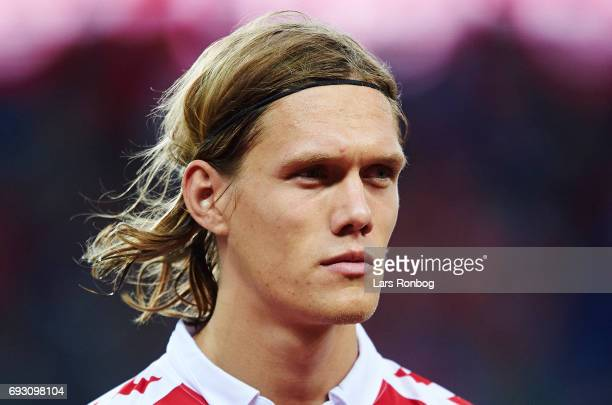 Jannik Vestergaard of Denmark looks on during the international friendly match between Denmark and Germany at Brondby Stadion on June 6 2017 in...
