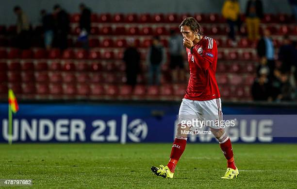 Jannik Vestergaard of Denmark shows dejection after UEFA U21 European Championship semi final match between Denmark and Sweden at Generali Arena on...