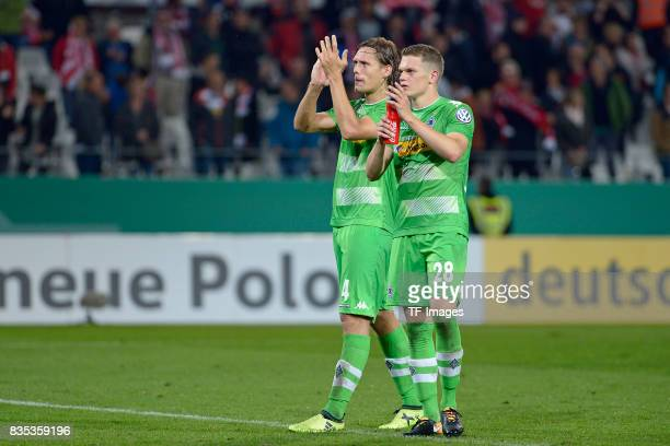 Jannik Vestergaard of Gladbach and Matthias Ginter of Gladbach looks on during the DFB Cup match between Rot Weiss Essen and Borussia...