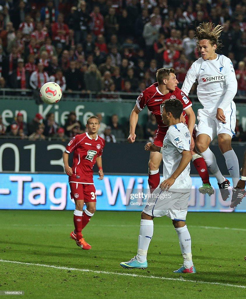 Jannik Vestergaard of Hoffenheim scores his team's third goal during the Bundesliga Playoff Second Leg match between 1 FC Kaiserslautern and 1899...