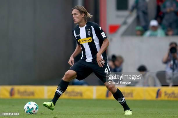 Jannik Vestergaard of Mnchengladbach runs with the ball during the Bundesliga match between Borussia Moenchengladbach and 1 FC Koeln at BorussiaPark...