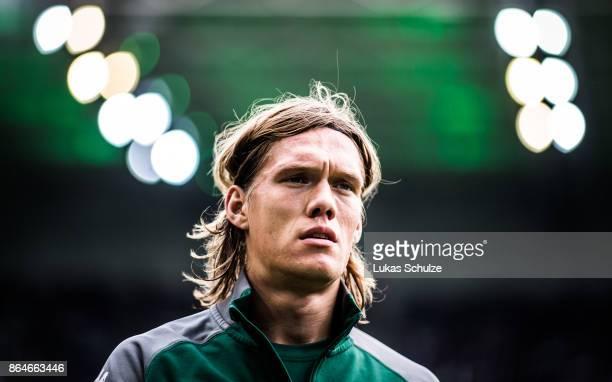 Jannik Vestergaard of Moenchengladbach looks up prior to the Bundesliga match between Borussia Moenchengladbach and Bayer 04 Leverkusen at...
