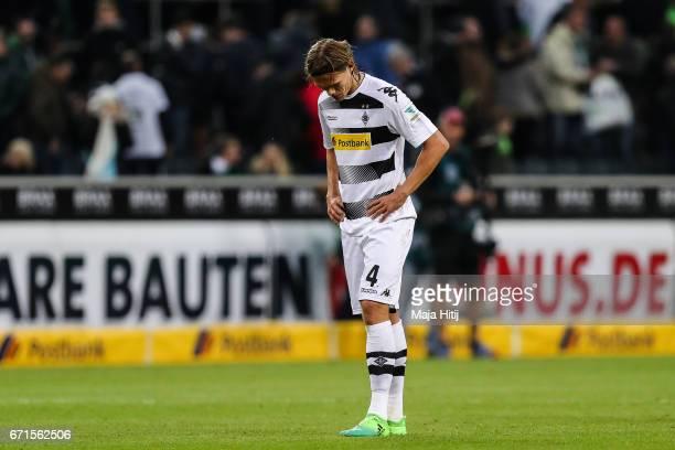 Jannik Vestergaard of Moenchengladbach reacts after the Bundesliga match between Borussia Moenchengladbach and Borussia Dortmund at BorussiaPark on...