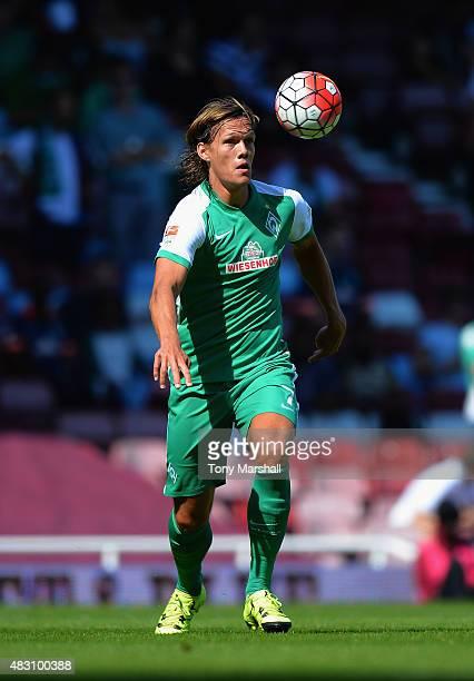 Jannik Vestergaard of SV Werder Bremen during the Betway Cup match between West Ham Utd and SV Werder Bremen at Boleyn Ground on August 2 2015 in...