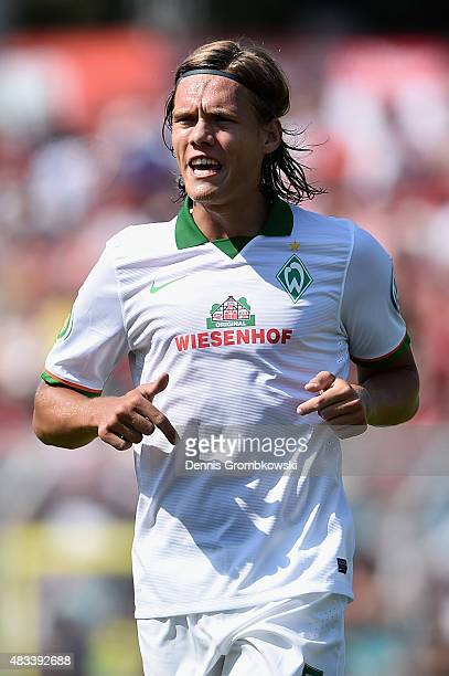 Jannik Vestergaard of Werder Bremen reacts during the DFB Cup First Round match between Wuerzburger Kickers and Werder Bremen at flyeralarm Arena on...