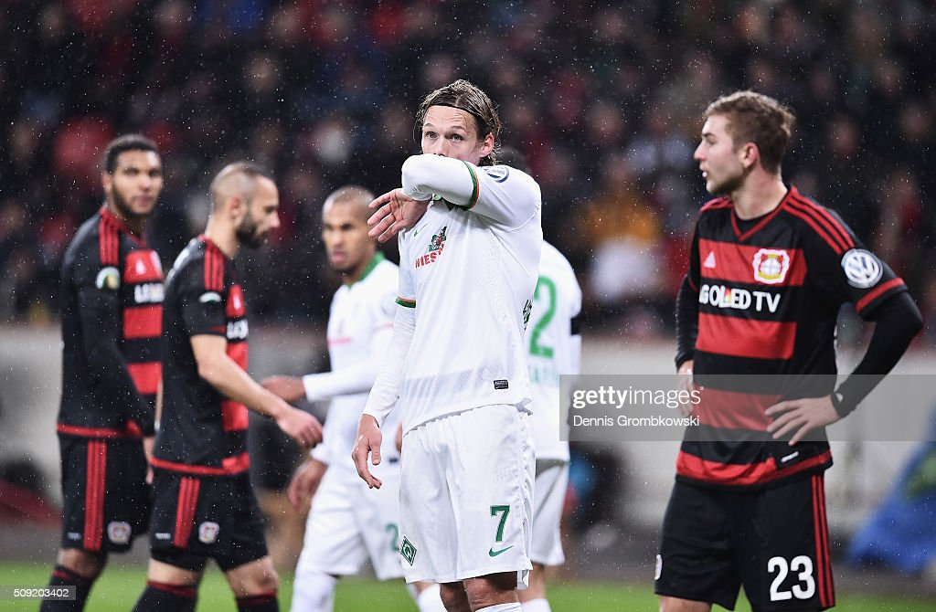 <a gi-track='captionPersonalityLinkClicked' href=/galleries/search?phrase=Jannik+Vestergaard&family=editorial&specificpeople=7174952 ng-click='$event.stopPropagation()'>Jannik Vestergaard</a> of Werder Bremen (7) reacts during the DFB Cup Quarter Final match between Bayer Leverkusen and Werder Bremen at BayArena on February 9, 2016 in Leverkusen, Germany.