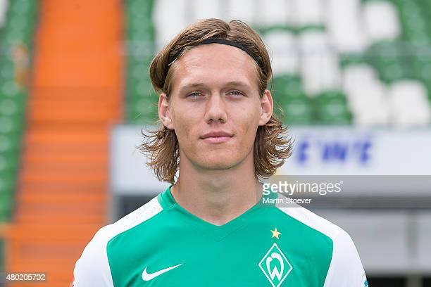 Jannik Vestergaard poses during the official team presentation of Werder Bremen at Weserstadion on July 10 2015 in Bremen Germany