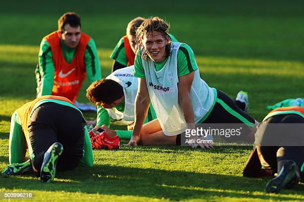 Jannik Vestergaard reacts during a Werder Bremen training session on day 3 of the Bundesliga Belek training camps at Regnum Sports Center on January...