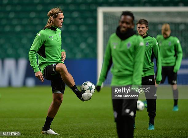 Jannik Vestergaard the VfL Borussia Moenchengladbach training session at Celtic Park on October 18 2016 in Glasgow Scotland