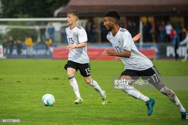 JanNiklas Beste and Timothy Tillman in action during the U20 international friendly match between U19 Switzerland and U19 Germany on August 31 2017...