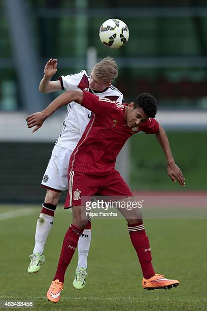 JanNiklas Beste of Germany challenges Jordi Mboula of Spain during the U16 UEFA development tournament match between Germany and Spain on February 14...