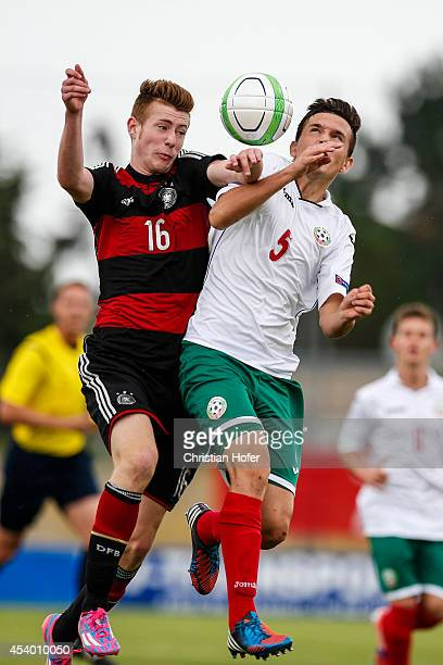 Jannis Mause of Germany competes for the ball in the air with Martin Simeonov of Bulgaria during the TOTO Cup match between U17 Bulgaria and U17...
