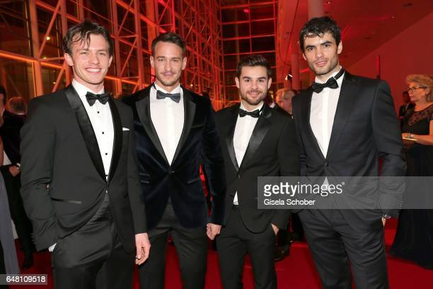 Jannis Niewoehner Vladimir Burlakov Lucas Reiber and Nik Xhelilaj during the Goldene Kamera reception at Messe Hamburg on March 4 2017 in Hamburg...