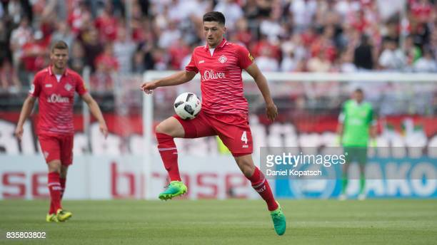 Jannis Nikolaou of Wuerzburg controls the ball during the 3 Liga match between FC Wuerzburger Kickers and FC Hansa Rostock at on August 20 2017 in...