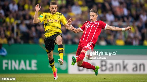 Jano Baxmann of Dortmund and Marco Friedl of Munich fight for the ball during the U19 German Championship Final between Borussia Dortmund and FC...