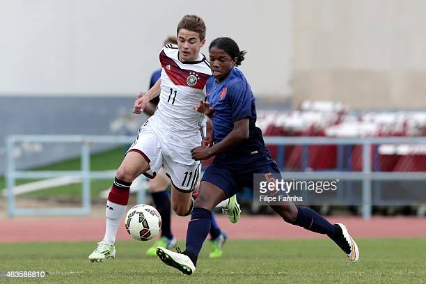 Jano Baxmann of Germany challenges Tyrell Malacia of Netherlands during the U16 UEFA development tournament between Germany and Netherlands on...