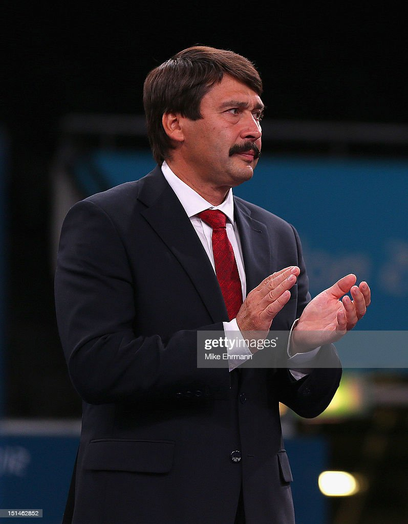 Janos Ader, President of Hungary looks on during the medal ceremony for the Women's Team Wheelchair Fencing on day 9 of the London 2012 Paralympic Games at ExCel on September 7, 2012 in London, England.