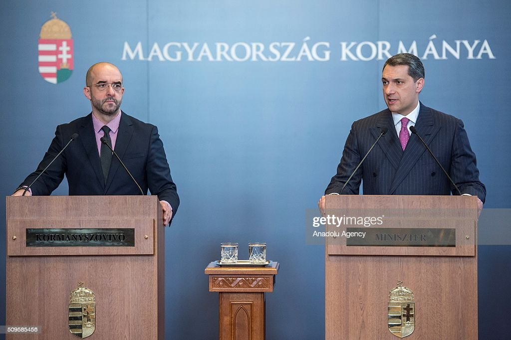 Janos Lazar (R), Head of the Hungarian Prime Minister's Office, delivers a speech during a press conference in Budapest, Hungary on February 11, 2016.