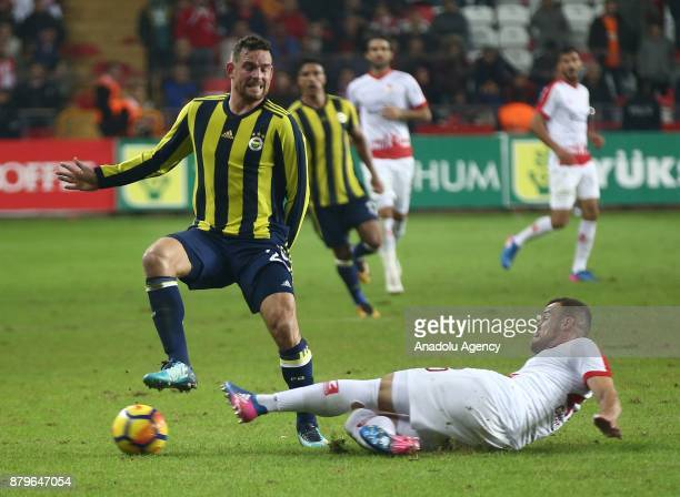 Janssen of Fenerbahce in action against Chico of Antalyaspor during the Turkish Super Lig match between Antalyaspor and Fenerbahce at Antalya Stadium...