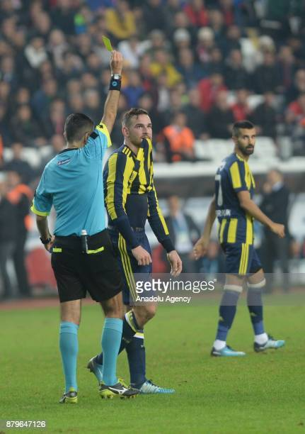 Janssen of Fenerbahce receives yellow card during the Turkish Super Lig match between Antalyaspor and Fenerbahce at Antalya Stadium in Antalya Turkey...