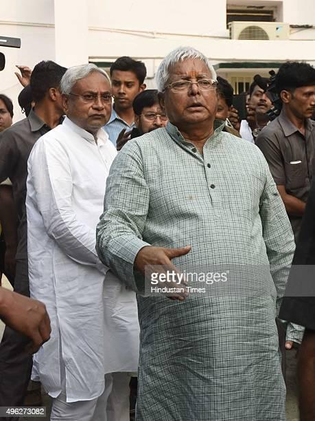 Janta Dal leader Nitish Kumar and Rashtriya Janta Dal leader Lalu Prasad Yadav during a press conference after landslide victory in Bihar Assembly...