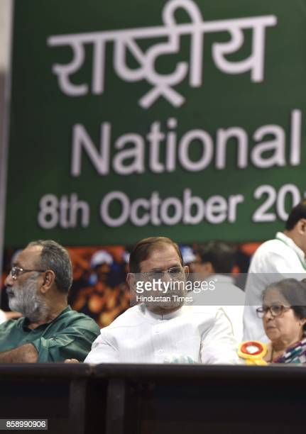Janta Dal leader Sharad Yadav with his party leaders during JD National Council Meeting on October 8 2017 in New Delhi India Sharad Yadav on Saturday...