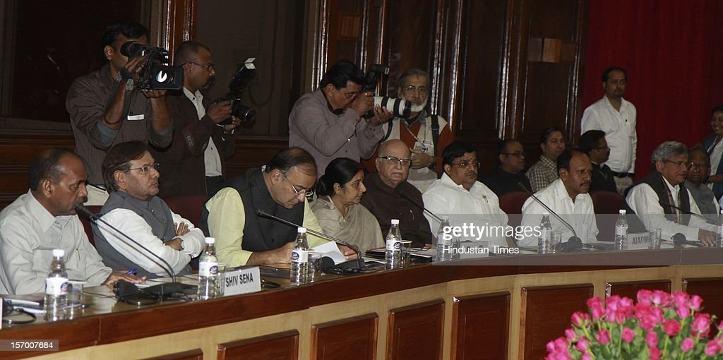 Janta Dal ( U) President Sharad Yadav, Leader of Opposition in Rajya Sabha Arun Jaitley, Leader of the Opposition in the Lok Sabha Sushma Swaraj, BJP leader L.K Advani, and other leaders attending all party meeting on to break the deadlock on Foreign Direct Investment issue during the Parliament winter session on November 26, 2012 in New Delhi, India. Main opposition party BJP wants debate under rule 184 which has provision of vote but government wants the speaker to decide on debate rules.