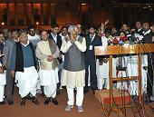 Janta Dal United leaders Nitish Kumar and Sharad Yadav along with RJD chief Lalu Prasad Yadav and SP Chief Mulayam Singh Yadav with MLAs from Bihar...