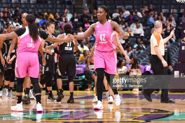 Jantel Lavender of the Los Angeles Sparks shakes hands during the game against the San Antonio Stars on August 22 2017 at the STAPLES Center in Los...