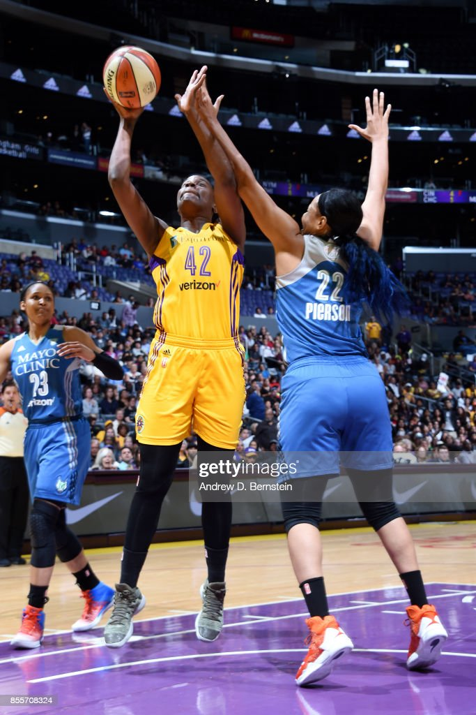 Jantel Lavender #42 of the Los Angeles Sparks shoots a lay up against Plenette Pierson #22 of the Minnesota Lynx in Game Three of the 2017 WNBA Finals on September 29, 2017 in Los Angeles, California  NOTE