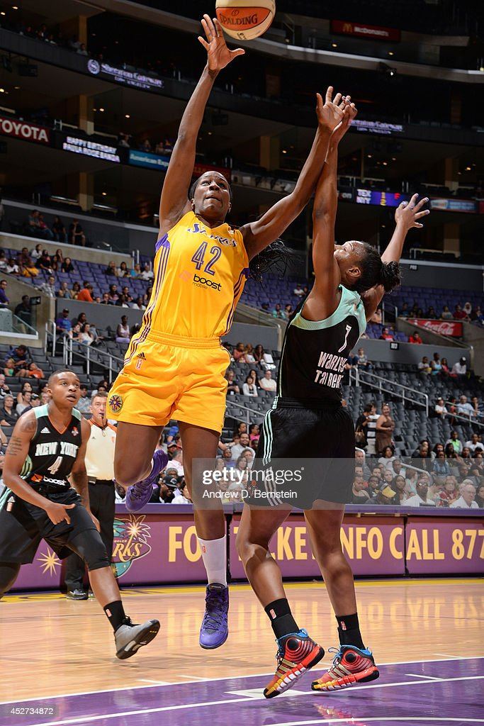 <a gi-track='captionPersonalityLinkClicked' href=/galleries/search?phrase=Jantel+Lavender&family=editorial&specificpeople=4215911 ng-click='$event.stopPropagation()'>Jantel Lavender</a> #42 of the Los Angeles Sparks shoots against the New York Liberty at STAPLES Center on July 23, 2014 in Los Angeles, California.