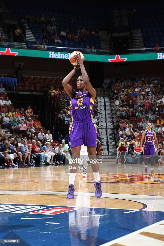 Jantel Lavender #42 of the Los Angeles Sparks shoots the ball against the Connecticut Sun during a game at the Mohegan Sun Arena on July 13, 2014 in Uncasville, Connecticut.