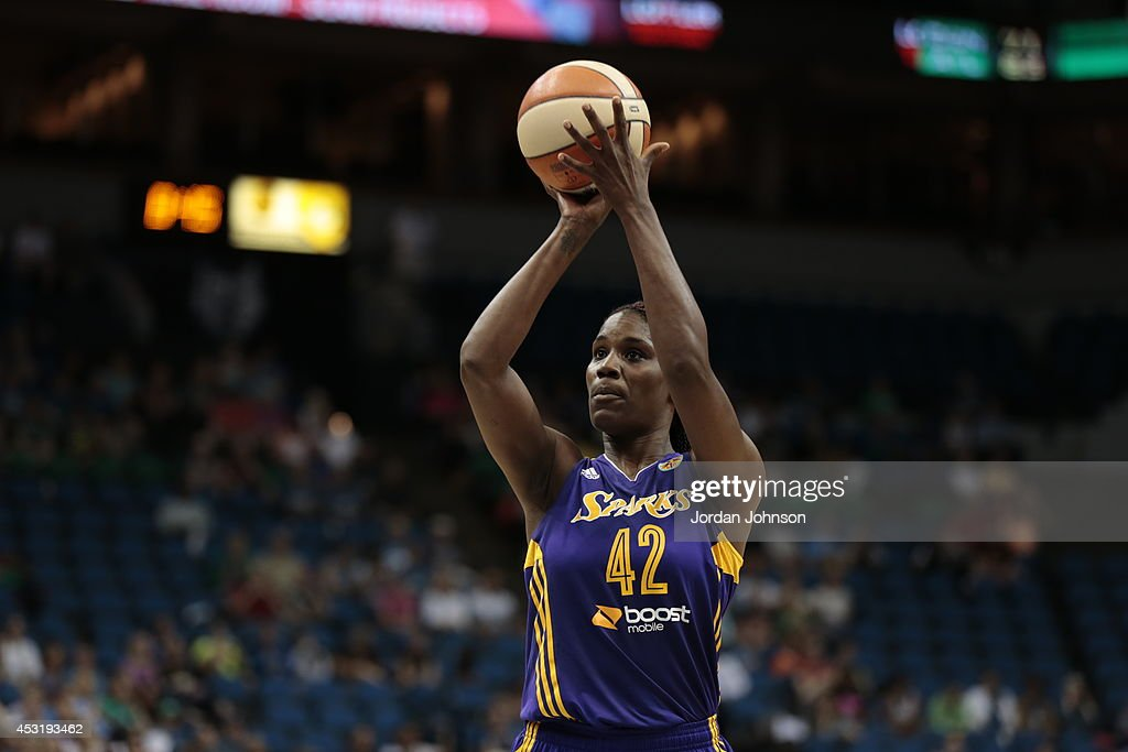 Jantel Lavender #42 of the Los Angeles Sparks shoots the ball against the Minnesota Lynx during the WNBA game on July 8, 2014 at Target Center in Minneapolis, Minnesota.